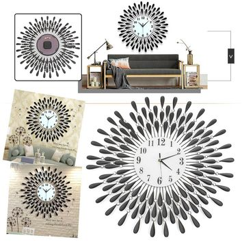 70CM 3D Wall Clock Modern Art Wall Clock Sunburst Beaded Jeweled Quartz Wall Clock Home Decoration