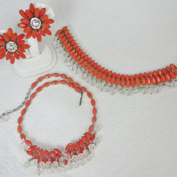Rare Signed Weiss Coral Necklace Bracelet Earrings Rhinestones Dangling Crystals