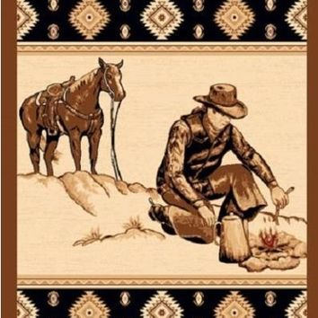 Copy of 4' X 6' WESTERN CAMPFIRE COWBOY AREA RUG