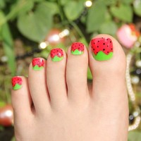 Kawaii Fake Toe Nails for Women and Children Strawberry Adorable 24pcs Toe Nails Tips Oval Toenails Short with Glue Sticker