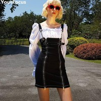 Harajuku vintage retro black punk metal chain double zipper spaghetti strap dresses YQ-766