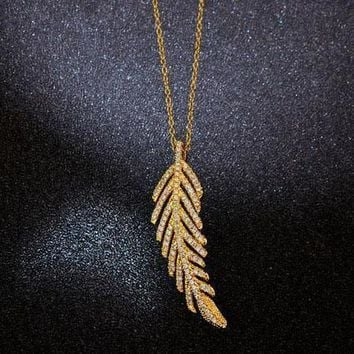 Tiffany Women Fashion Feather Plated Necklace Jewelry-1