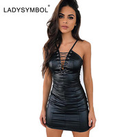 LadySymbol PU Lace Up Dress Women Slim Casual Winter Bodycon Dress Night Club Sexy Black Elegant Autmun Short Party Mini Dresses