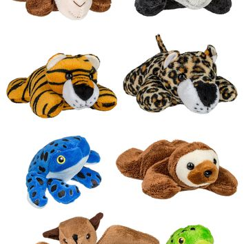 "8 Pack Jungle Mini 4"" Small Stuffed Animals, Variety of Zoo Animal Toys, Rainforest Party Favors for Kids"