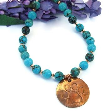 Dog Paw Print Pendant and Turquoise Necklace, Copper Gemstone Handmade Artisan Jewelry