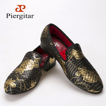 2016 New style gold flower and line print men loafers party and wedding men dress shoes Fashion men smoking slipper men's flats