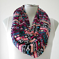 Tribal Aztec Print Infinity Scarf, Loop Scarf, Jersey Scarf