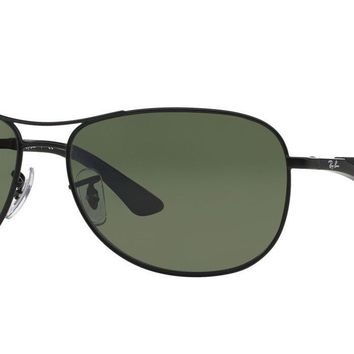 Ray-Ban RB3519 Polarized Sunglasses (Black/Polarized Green Classic G-15)