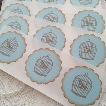 Vintage Inspired Bird Cage Stickers Set of 12
