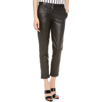 Theory Women's Black Thaniel Kanga Leather Ponte Slim-crop Pants