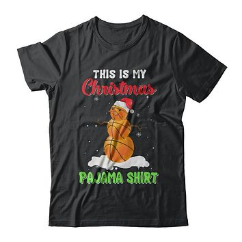 This Is My Christmas Pajama Xmas Snowman Basketball