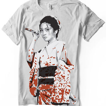 Lady Snowblood T Shirt - Meiko Kaji - Kill Bill Tarantino - Hand airbrushed with stencils