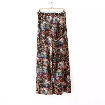 Summer Vintage Print High Rise Casual Pants [4918015684]