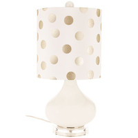 White Glass Lamp with Gold & White Polka Dot Shade | Hobby Lobby | 1130376