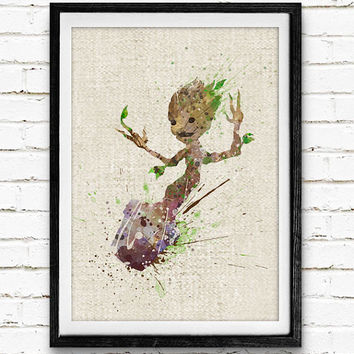 Groot Poster, Guardians of the Galaxy Watercolor Art Print, Kids Room Wall Art, Home Decor, Gift, Not Framed, Buy 2 Get 1 Free!