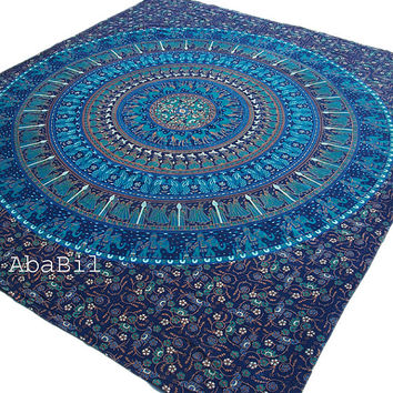 Queen Size Indian Elephant Camel Peacock Blue Printed Indian Cotton Bedspread Tapestry Hippie Throw Bedcover Home Decorative Art