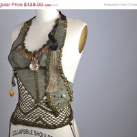 SUMMER SALE OOAK Leather Top - Leather Festival Top - Festival Clothing - Party Tops - Burning Man - Hippie - Leather Halter Tops
