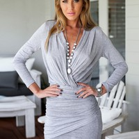 Wrap V Neck Ruched Bodycon Dress - NOVASHE.com