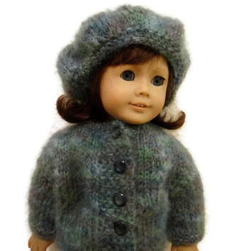 American Girl Doll Hat Sweater Green Blue