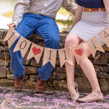 Save the Date Banner, Burlap Banner, Wedding Banner