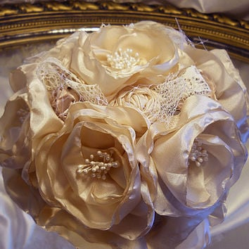 """6"""" Vintage Champagne Cake Topper, handmade vintage champagne silk peony fabric flowers and rosettes"""