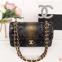 HCXX 19Sep 496 Fashion Simple Python Pattern Chain Crossbody Pouch Flap Shoulder Baguette Bag 25-15-7cm