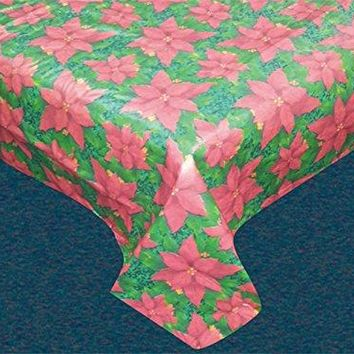 Felices Pascuas Holiday Vinyl Tablecloth with Polyester Flannel Backing - Floral Cheer Rectangle (52 inch  x 70 inch )