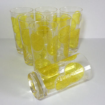 Lemon Slice Glass Tumbler Set, 7 Mid Century Lemonade Glasses, Libbey? Lemon Slice Glasses, 3D Yellow Glass Tumblers with White Polka Dots