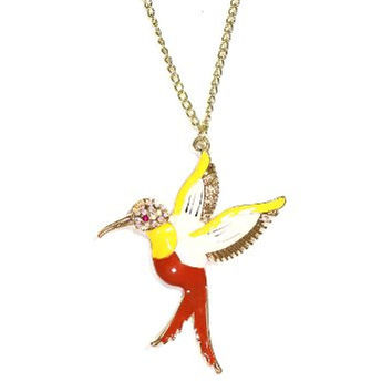 Pink Hummingbird Necklace Tropical Crystal Bird Charm NN59 Gold Tone Neon Pendant Fashion Jewelry