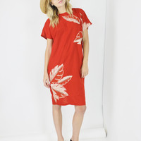boho shift dress orange red tropical embroidered loose fit midi dress resort outfit bohemian one size small medium large