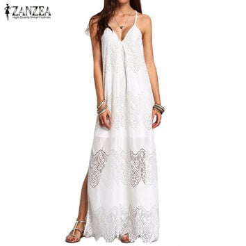 ZANZEA Long Maxi Dresses   Boho Vestidos Summer Beach Wear Cream Deep V Neck Split Slip Sleeveless Dresses Plus