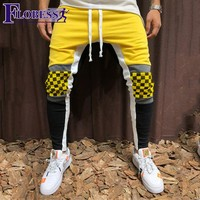 Men Plaid Print Jogger Sports Pants New 2018 Male Leisure Fitness Running Skinny Long Trousers Mens Striped Pencil Pants