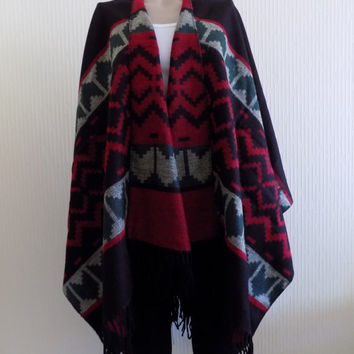 Black Red Poncho,Tribal poncho,tribal cape,Aztec poncho,aztec cape,Blanket scarf,Blanket poncho,PONCHO,etnic poncho,tribal cape,tribal cape