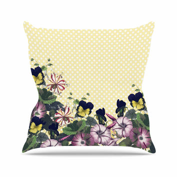 "Alison Coxon ""Polka Dot"" Purple Yellow Outdoor Throw Pillow"