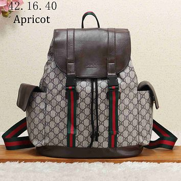 GUCCI 2018 new classic GG pattern large men's backpack F-KSPJ-BBDL Apricot
