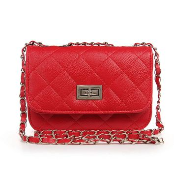 Mini Crossbody Bag, OURBAG PU Leather Quilted Cross Body Shoulder Clutch Purse Evening Handbag with Chain