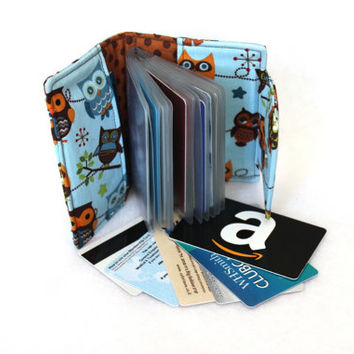 owl card holder wallet - small photo album - brag book - loyalty card holder - business card holder - coupon organizer - credit card wallet