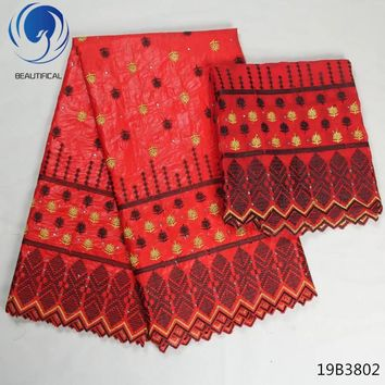 LIULANZHI 7yards/lot african bazin riche getzner tissus patchwork red color cotton fabric african riche dresses for women 19B38