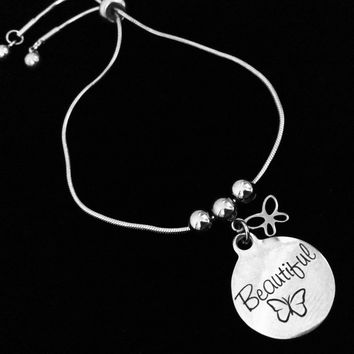 Beautiful Butterfly Bolo Bracelet Stainless Steel Adjustable Bracelet Gift Message Charm Bracelet