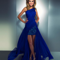 Mac Duggal 2013 Prom Dresses - Royal Blue Chiffon High-Low Gown