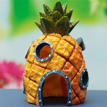 Artificial Pineapple House Sponge Bob Fish Tank Ornament Aquarium Decoration HU