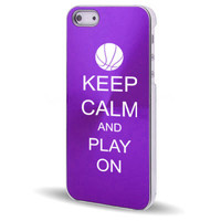Purple Apple iPhone 5 Aluminum Plated Hard Case Cover 5C314 Keep Calm and Play On Basketball