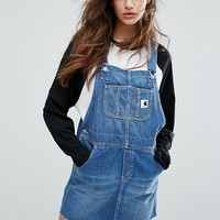 Carhartt WIP Charlotte Dungaree Dress With Raw Hem at asos.com