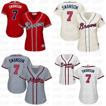 Grey white blue red 7 Dansby Swanson Authentic baseball Jersey ,women #2 Atlanta Braves jersey stitched S-2XL