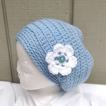 Girls slouchy beanie - Crochet girls hat - Girls blue hat - Childs slouchy hat - Girls accessories