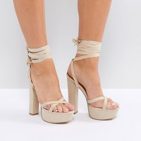 Truffle Collection Tie Ankle Platform Heeled Sandals at asos.com
