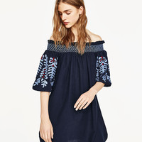 DRESS WITH EMBROIDERED SLEEVES
