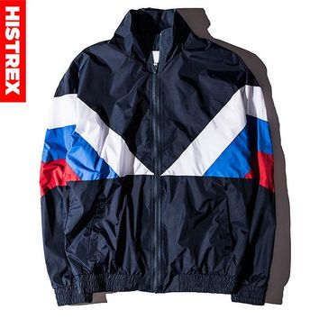 HISTREX Russian 2018 Jacket Men High Quality Russia Flag Famous Designer Nylon Windbreaker Reggae Navy Green Patchwork Coats