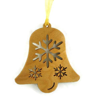 Bell Christmas Tree Ornament with Snowflakes Handcrafted from Birch Wood