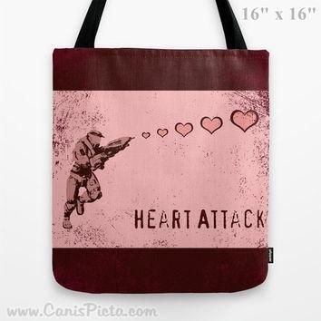 Halo Valentine's Day 13x13 Graphic Tote Bag Master Chief Helmet Spartan Armor Him Pink